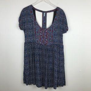 Free People Flowy Tunic Top Dress Back Cutouts L